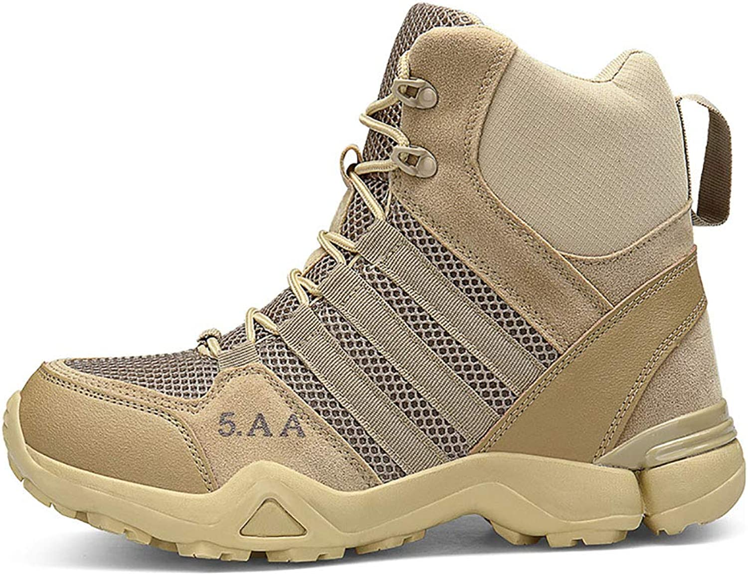 Men's shoes 2018 Boots Comfort Lining High-Top Casual shoes Lace Up High Boots Non-Slip Outdoor Military Boots,Beige,39