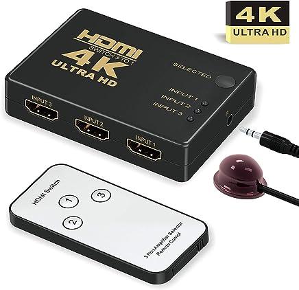 HDMI Switch 4k,GANA Intelligent 3-Port HDMI Switcher,splitter, Supports 4K, Full HD1080p, 3D with IR Remote