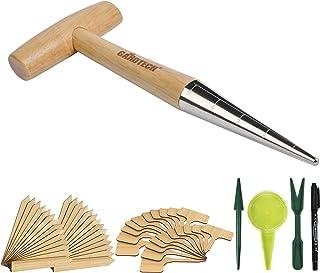 Gardtech Garden Tool Set 45pcs, with Dibber Bulb Planter Wood Hand Dibbler, 40pcs Plant Tags Bamboo Plant Label, Seed Disp...