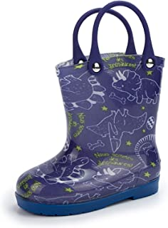 KIDSUN Kids Girl Boy Waterproof Rubber Rain Boots Toddlers With Easy-On Handles & Fun Prints Rain Boots Outdoor Shoes