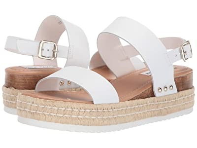 Steve Madden Catia Wedge Sandal (White Leather) Women