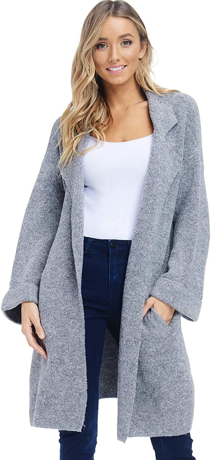 Alexander + David Womens Oversized Sweater Jacket  Knit Lapel Open Coat
