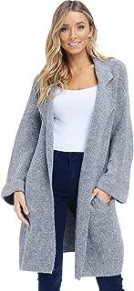 Alexander + David Womens Oversized Sweater Jacket - Knit Lapel Open Coat