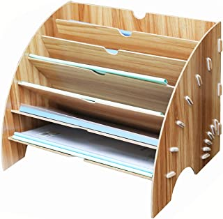 KQGO Fan Shaped Desk File Organizer 6 Slots,Wooden File Sorter Storage Rack Paper Mail Letter Document Magazine File Folde...