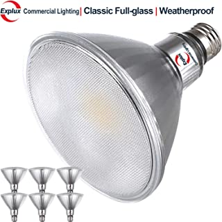 Explux Classic Full-Glass PAR38 LED Flood Light Bulbs, Dimmable, 4100K Cool White, Indoor/Outdoor, 120W Equivalent, 6-Pack
