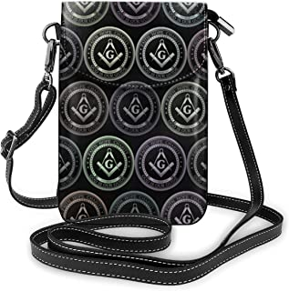 Multipurpose Soft PU Leather Smartphone Wallet Crossbody Cell Phone Purse Mobile Phone Pouch Daily Use Shoulder Bag Carrying Cases (Masonic Faith Hope Charity Freemason Logos)