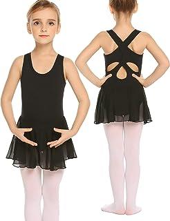 Bricnat Mädchen Ballettkleidung Kinder Ballettkleid Ärmellos Tanzkleid Tanzbody Balletttrikot aus Baumwolle mit am Rücken gekreuzten