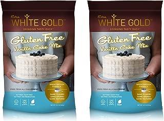 Extra White Gold Gluten Free Vanilla Cake Mix – For Cake Cupcakes Desserts – [Kosher] [Gluten Free] [Vegan] [Soy Free] [Nut Free] [Dairy Free] – 15.9 Ounces (2 pack)
