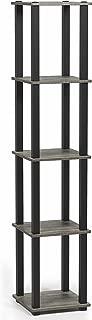 FURINNO Turn-S-Tube 5-Tier Corner Square Rack Display Shelf, French Oak Grey/Black