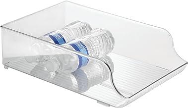 iDesign Plastic Refrigerator and Freezer Storage Organizer Bin Water Bottle and Drink Holder for Kitchen, Basement, Garage...
