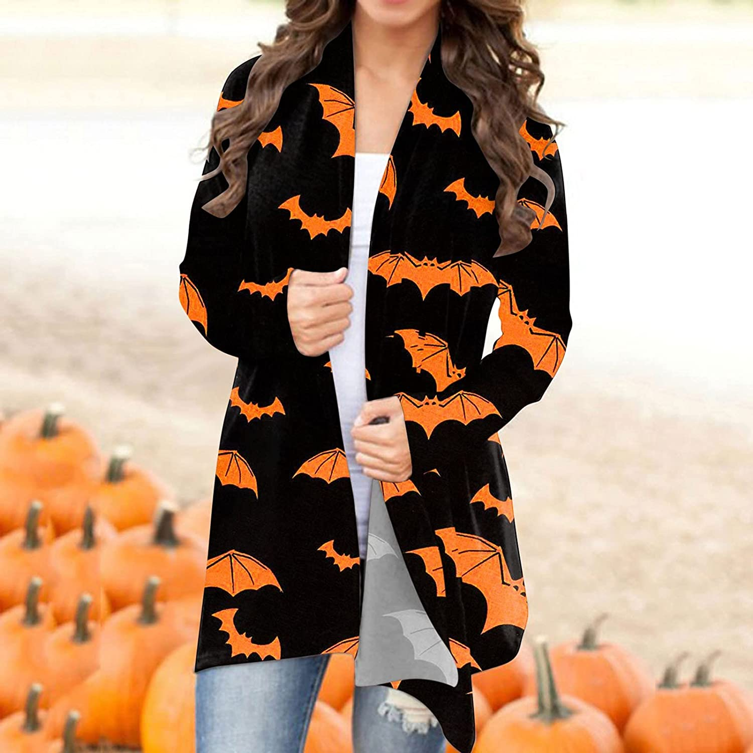 UOCUFY Halloween Cardigan for Women, Womens Funny Cute Pumpkin Cat Ghost Graphic Blouse Coat Long Sleeve Open Front Top