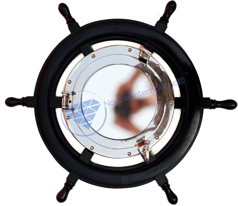 Pitch Black Nautical Ship Wheel Mirror   Nickel Aluminum Porthole Mirror   Exclusive Wall Decor Mirror   Nagina International (18 Inches)