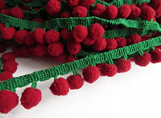 YYCRAFT Dark Red/Green Pom Pom Ball fringe Trim Ribbon Sewing Xmas(5 Yards)