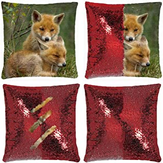 Huayuanhurug Mermaid Reversible Flip Lovely Fox Bro Play Each Other Sequin Throw Pillow Case Gifts Pillow Cover 18