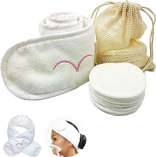 Reusable Makeup Remover Pads With Spa Headband Laundry Bag Microfibre Towel Spa Cosmetic - 10 Packs Bamboo Cotton Facial C...