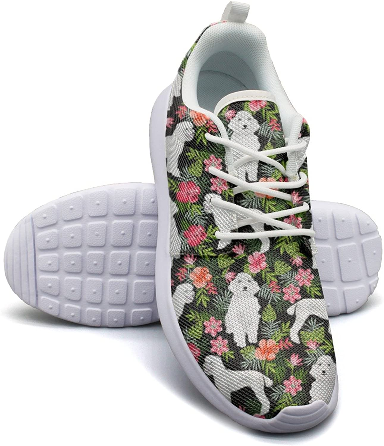 ERSER White Poodle Dog Hawaiian Floral Women's 2018 Nylon Running shoes