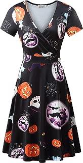 MSBASIC Short Sleeve Wrap V Neck Casual A Line Halloween Dress
