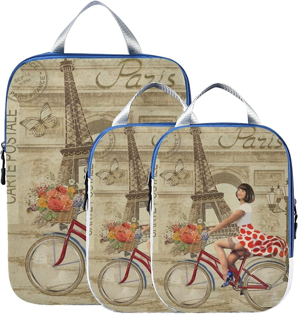 susiyo Paris Vintage Girl Bike Packing New sales Bag Travel of Set Cube Attention brand 3