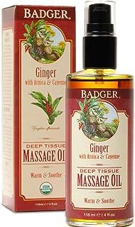 Badger Ginger Deep Tissue Massage Oil, 118 milliliters
