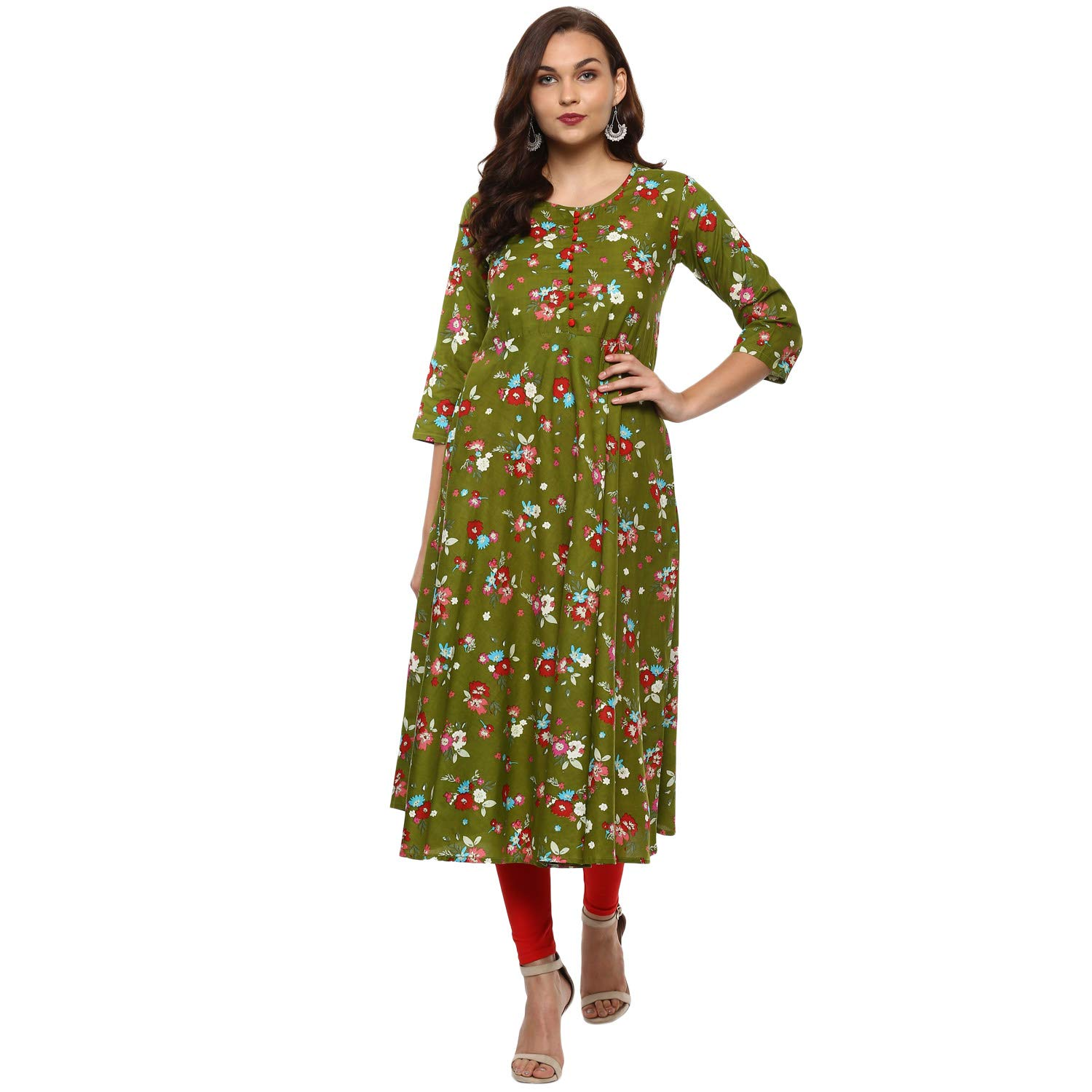 Available at Amazon: Yash Gallery Indian Tunic Tops Women's Cotton Floral Print Anarkali Kurta