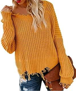 Women's Off Shoulder Ripped Deep V Neck Tassel Hem Full Sleeve Pullover Distressed Sweater Crop Tops