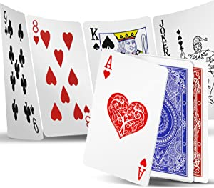 INTEGEAR Playing Cards 2 Decks Waterproof Plastic Poker Cards for Texas Holdem Poker Go Fish and More Card Games Standard and Jumbo Index 2.5