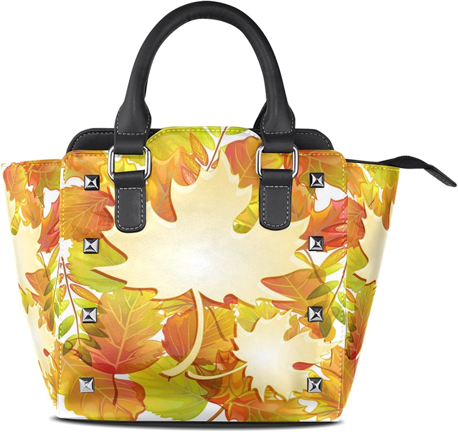 Womens Genuine Leather Hangbags Tote Bags Maple Leaves Purse Shoulder Bags