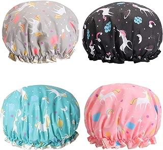 Unicorn Shower Caps Double Layers Bath Cap for Women, Reusable Waterproof Bonnet Designed Satin Lined 4 Pack