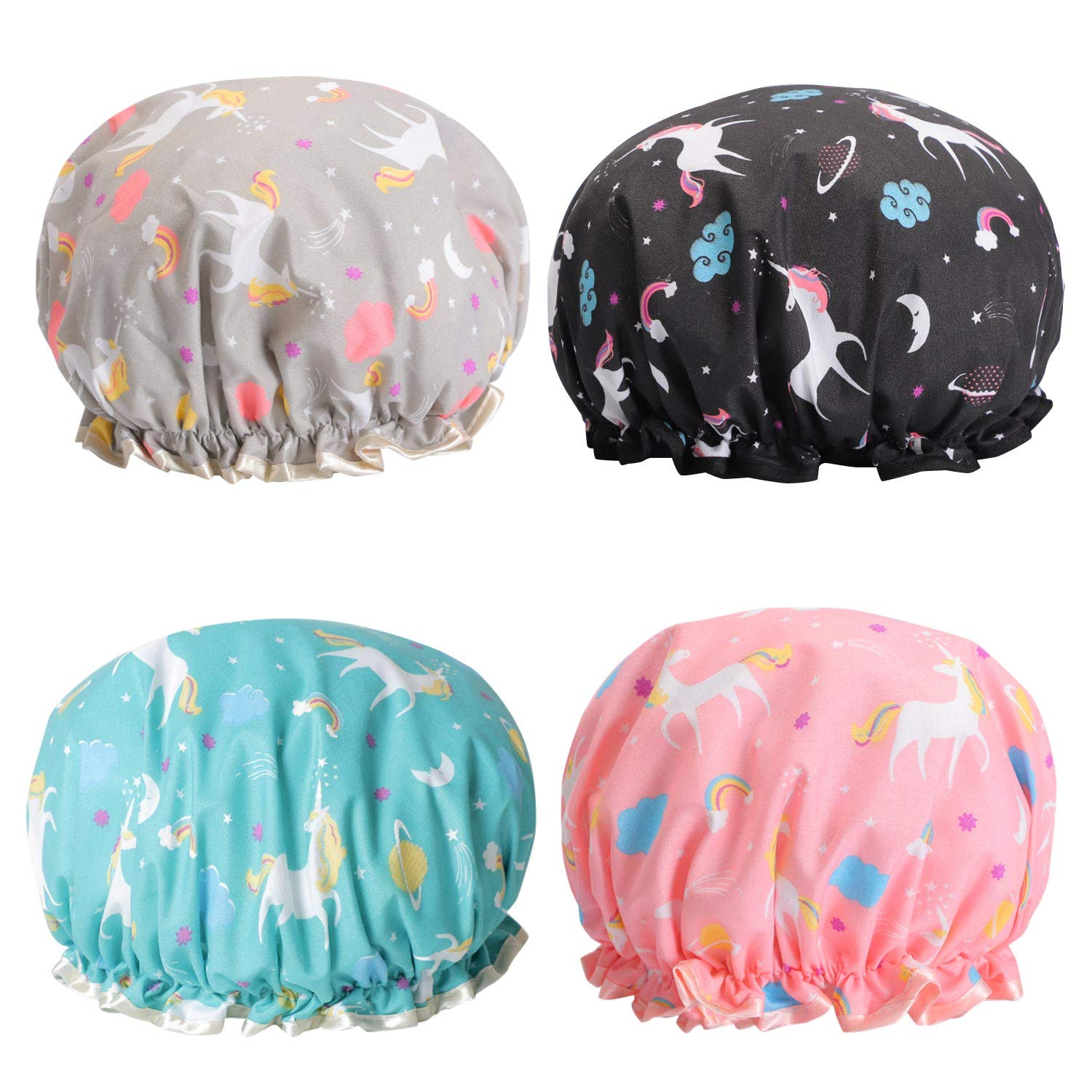 Unicorn Shower Caps, Double Layers Bath Hat for Women to Cover L
