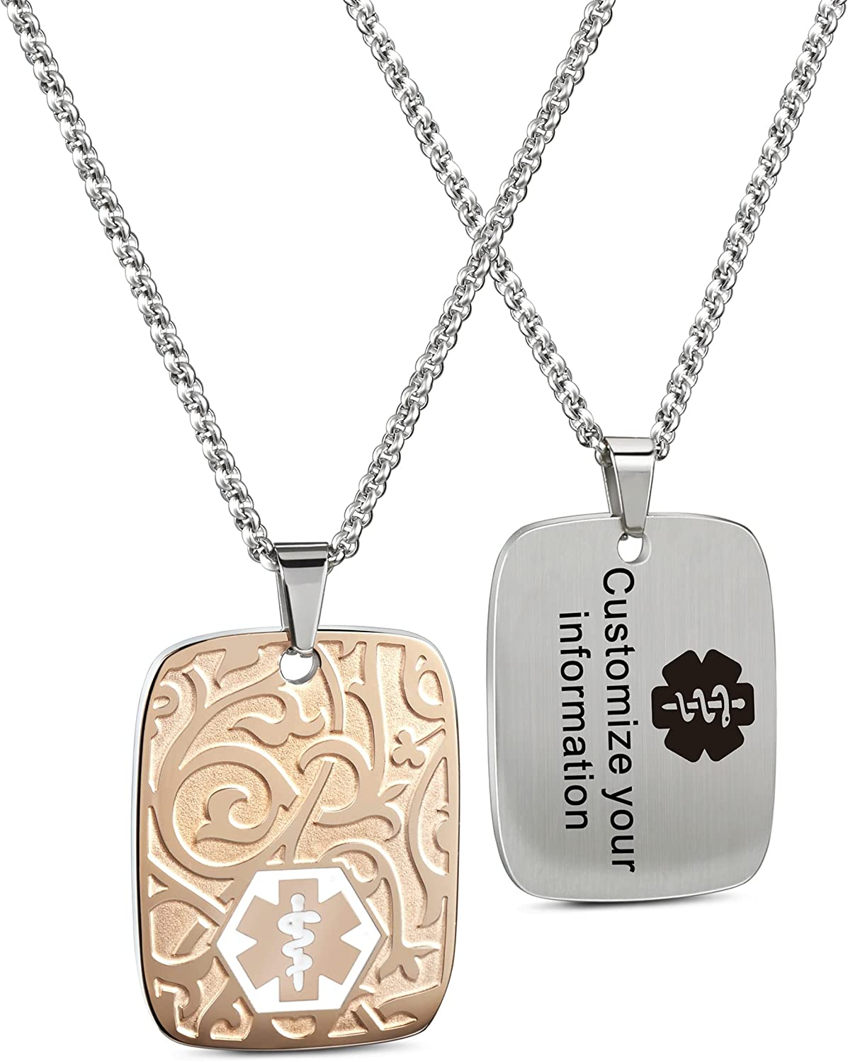 4 years Limited Special Price warranty MunsteryAid Custom Medical Alert ID Free with Engraving Necklace