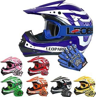 Leopard LEO-X17 Kinder Motocross MX Helm  Motorradhelm  Handschuhe  Brille ECE Genehmigt Crosshelm Kinderquad Off Road Enduro Sport