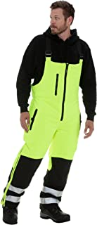 RefrigiWear Men's Hivis Insulated Softshell Bib Overalls - ANSI Class E High Visibility with Reflective Tape