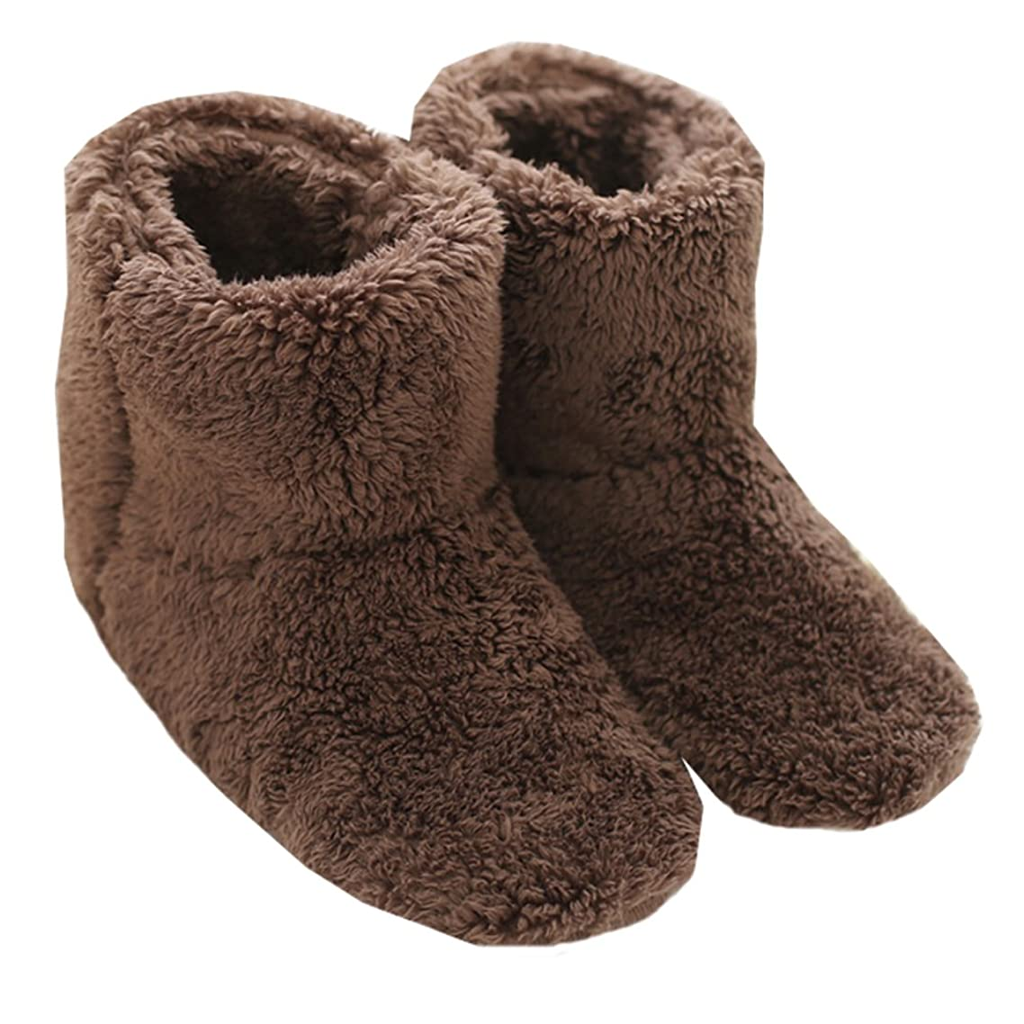節約する発掘するレルムMianshe 北欧 ルームシューズ もこもこ ルームブーツ 暖かい ボアスリッパ 男女兼用 (ブラウン Lサイズ 27cmくらいまで)