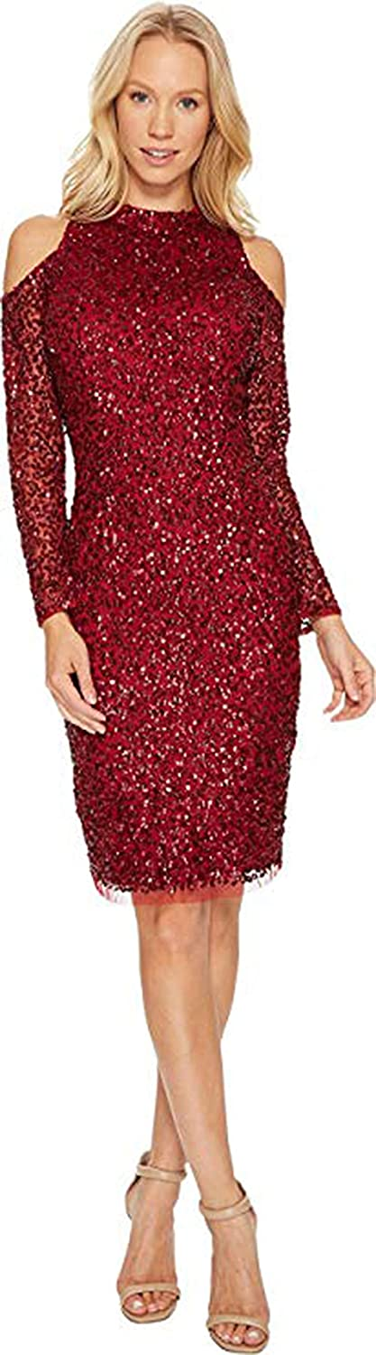 Adrianna Papell Womens Cold Shoulder Crunchy Bead Cocktail Dress