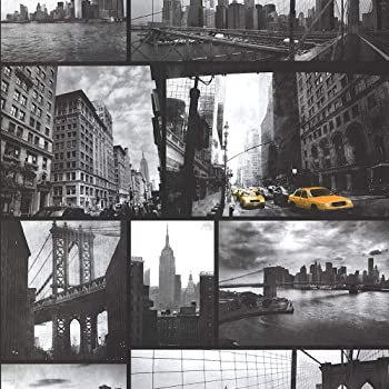 Muriva Big Apple New York City Wallpaper Black Grey Yellow Amazon Co Uk Diy Tools