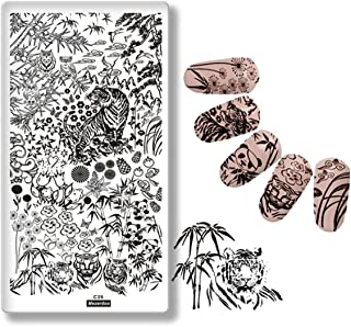Mezerdoo Forest Design Tiger Nail Stamping Image Plate Panda Owl Nails Stencil Bamboo Flower Plant Pattern Nail Manicure Art Template