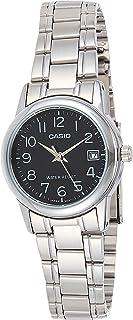 ساعة يد بعرض انالوج ومينا اسود اللون وسوار من الستانلس ستيل للنساء من كاسيو - LTP-V002D-1BUDF