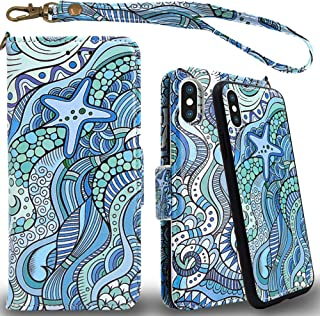 Mefon iPhone Xs Max Detachable Leather Wallet Phone Case, with Tempered Glass and Wrist Strap, Enhanced Magnetic Closure, Durable Slim, Luxury Flip Folio Cases for Apple iPhone Xs Max (Starfish Ocean)