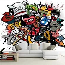 Customize 4D Mural Wallpaper Wall Decoration,Colorful Cartoon Graffiti Personalized Decorative Painting Wall Mural Wallpaper Poster Photo Wall For Living Room Bedroom Hotel Cafe Home Decor Silk Mural,