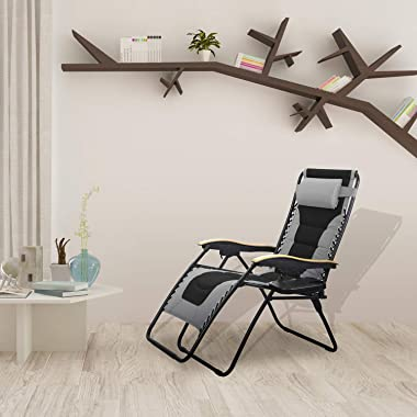 MFSTUDIO Oversized Zero Gravity Chair XL Patio Recliners Padded Folding Chair with Cup Holder, Extra Wide Chaise Lounge for P