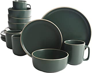Gibson Home Zuma 16 Piece Round Kitchen Dishes, Plates, Bowls, Mugs Dinnerware Sets, Service for Four (16pcs), Green