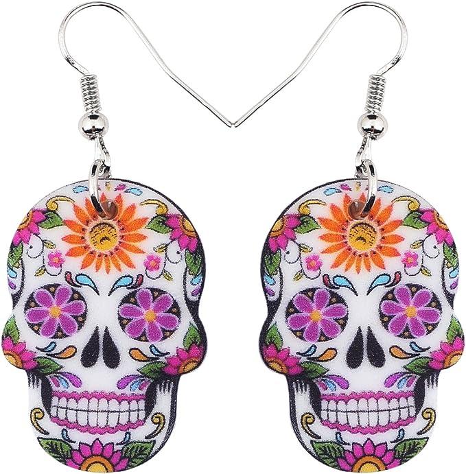 Halloween Floral Skull Earrings