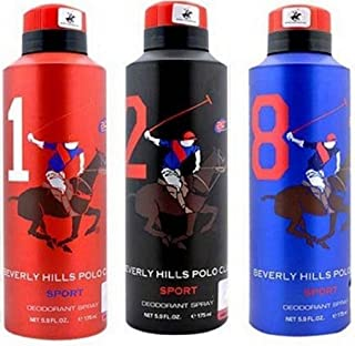 Beverly Hills Polo Club Mens Deodorant No. 1 & No. 2- Pack Of 2 (175ml Each)