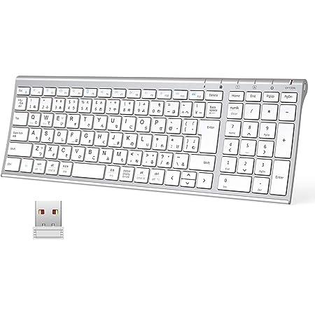 iClever キーボードワイヤレスキーボード JIS基準 日本語配列 超薄型 テンキー付き 無線 2.4G キーボード USB充電式 フルサイズアルミ合金製 パソコンPC用 Windows対応 Mac対応 日本語説明書 シルバーホワイト GKJ22S