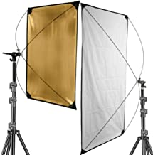 VTS Light Reflector Gold and Silver with 360 Degree Rotating Holding Bracket with Carrying Bag & Stand for Photo Studio Mo...