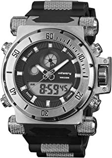 INFANTRY Mens 50mm Big Face Heavy Duty Military Tactical Digital Sport Wrist Watch with Black Silicone
