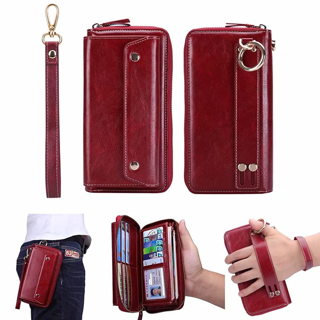 Universal Leather Cell Phone Case with Handle Wrist Strap Waist Pack Belt Pouch Wallet Pocket Purse for iPhone X//8 Plus/8 Samsung Galaxy S9/S9 Plus/Note 8 (Red, Universal) qqiomrehgy