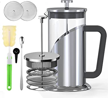French Press Coffee Maker - Rumia 304 Stainless Steel Coffee Press, Glass French Press with Scale Line, 3 Level Filtration Sy