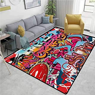 Graphic Area Floor Rugs Hip Hop Street Culture Harlem New York City Wall Graffiti Art Spray Artwork Image Anti-Fading W71 x L110 Multicolor