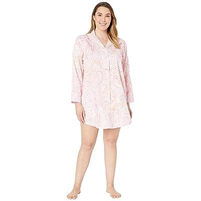LAUREN Ralph Lauren Plus Size Pointed Notch Collar Sleepshirt (Pink Paisley Print) Women